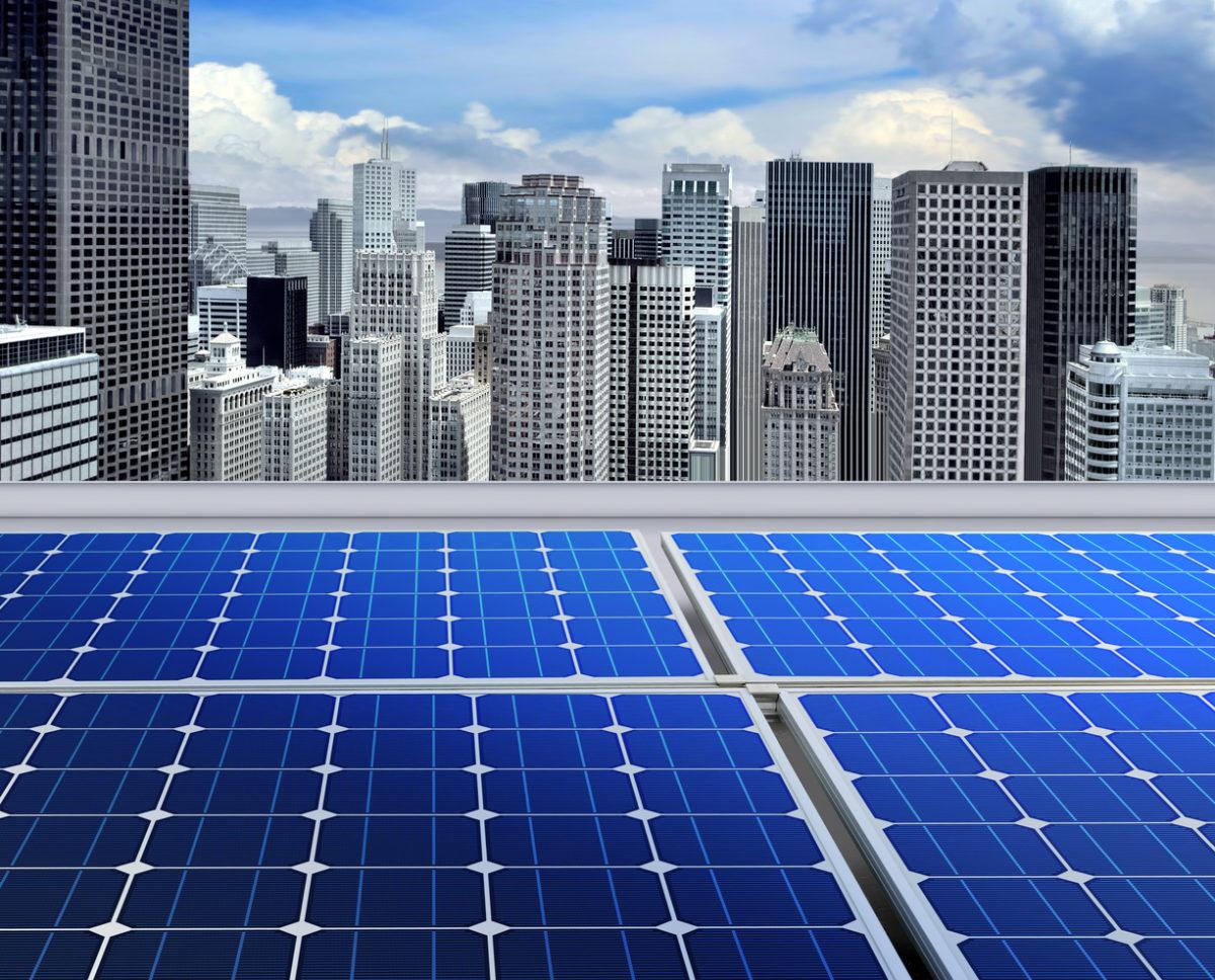 Solar panels on modern roof